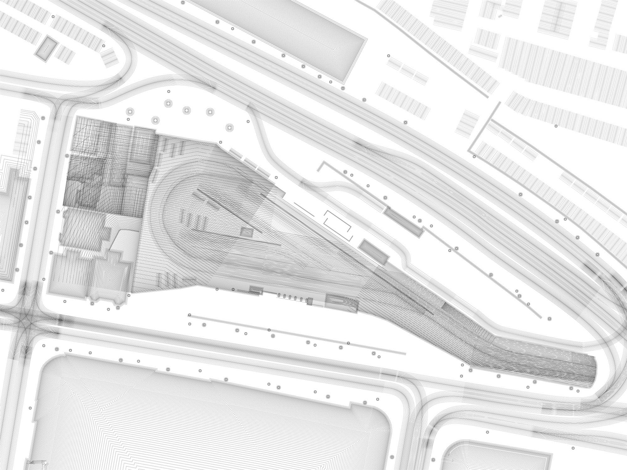 This drawing exploresall of the different kinds of barriers on the site: chain-link fences, iron bar fences, wood fences, brick walls, trains, parked cars, etc. The drawing shows the effect of those barriers on where pedestrians can go in the site, using only parallel lines. As the lines cross and overlay they revealareas which are affected by more barriers and are thus harder to access.