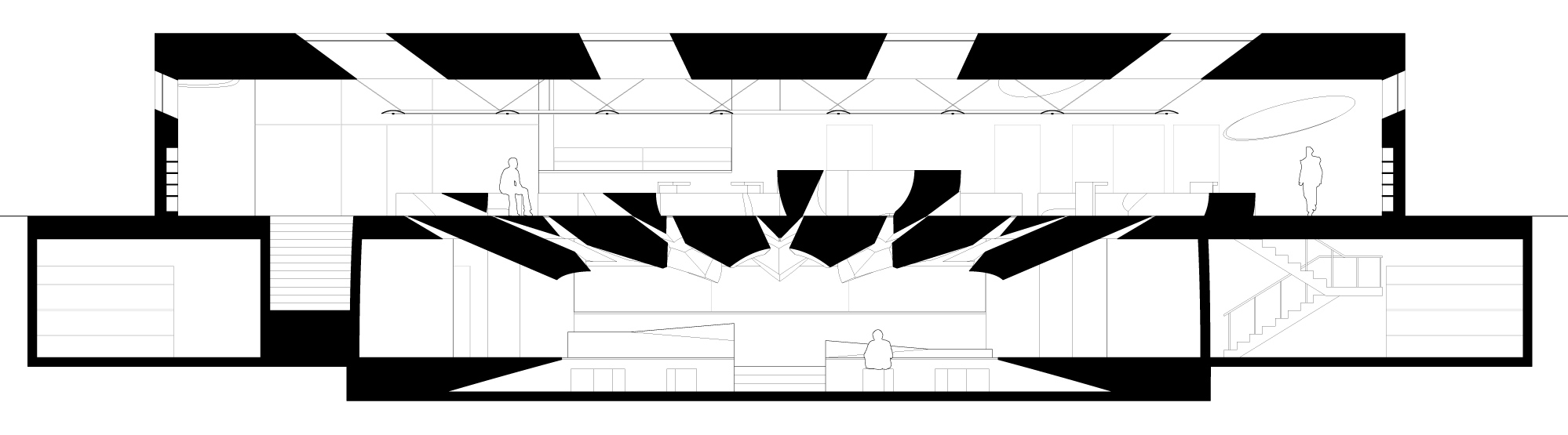 Drawing: Erioseto Hendranata <br /><br /> 42° borrows several motifs from the work of Louis Kahn. The material palette of the library imitates the materials of Kahn's Exeter Library: the walls are concrete, the floors and furniture are wood, and the featured spaces - at 42° the reading well - are paved in travertine marble. 42° also shares with much of Kahn's work a focus on primitive geometric figures like the circle. Most notably the circle is a prominent figure in Kahn's House of Parliament in Bangladesh as well as in the Exeter Library. Finally, while the methods employed differ, the aim of collecting, distributing, and displaying sunlight is a central theme in both 42° and in Kahn's work. <br /><br /> The drawn representation continues the relationship by imitating Kahn's typical drawing style. The drawings are rendered with black poche, clean lineweights, and patterning which describes surface materials.