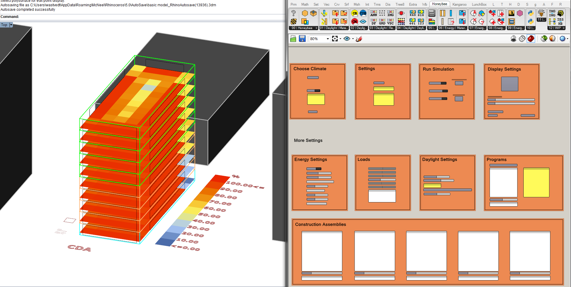 The simplified interface (right) provides the necessary controls to tune the analysis. Layers in the Rhino document translate automatically into different building programs.
