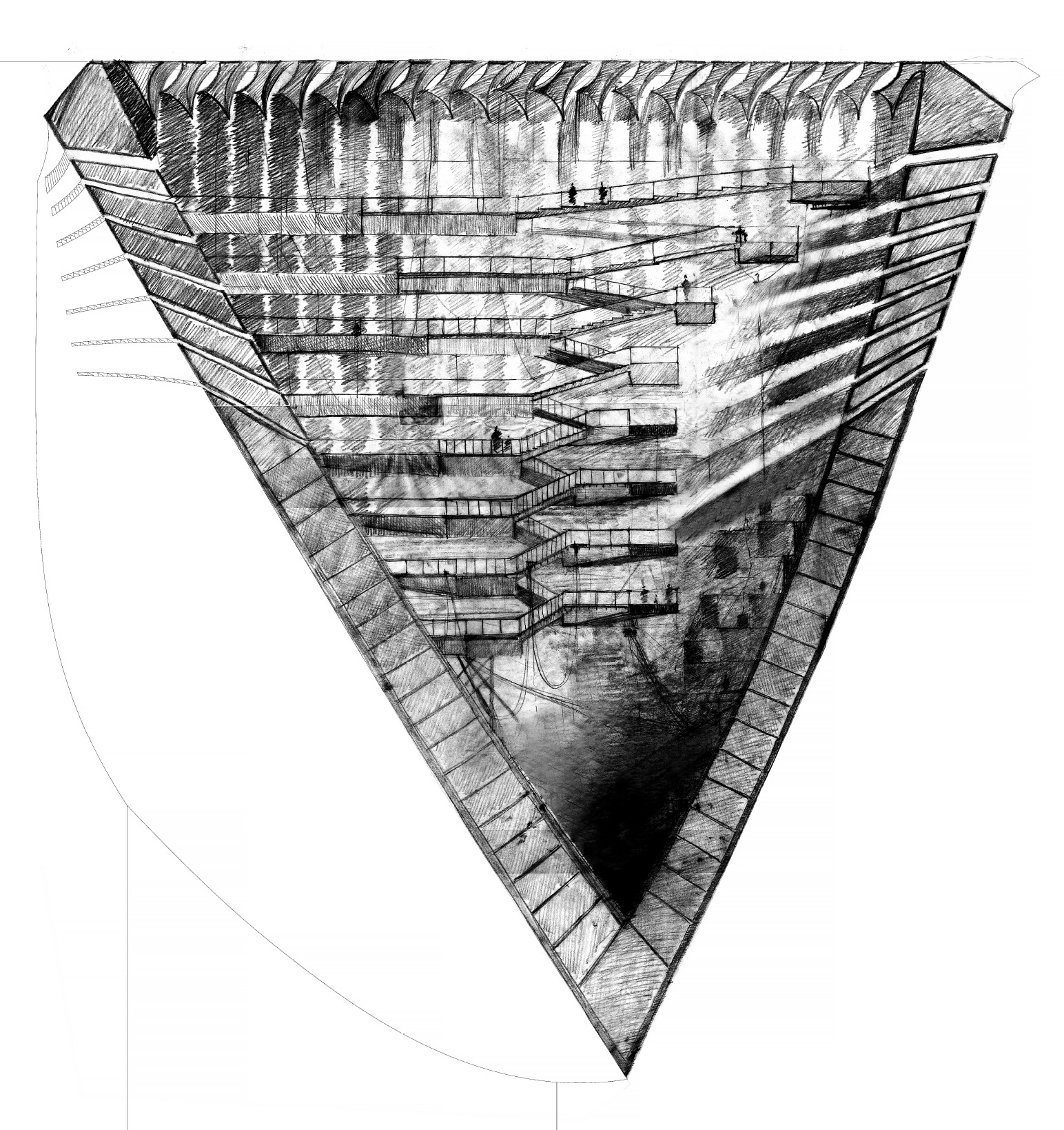 Rendering: Erioseto Hendranata <br /><br /> The drawn representation of 4° is rendered in the style of Giovanni Battista Piranesi. Piranesi's Carceri (Prisons) etchings use dramatic lighting to create depth and volume and to accentuate the labyrinthine nature of the architecture. Though the spiral stair in 4° is a simple path, not a maze, the space is a network of stairs and bridges which particularly in section bears a resemblance to Piranesi's prisons.
