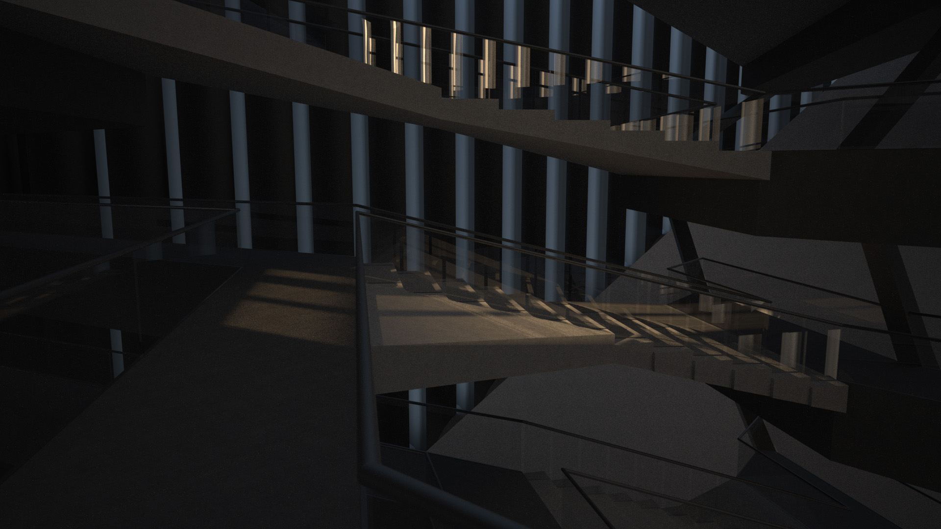 At 4° the sunlight rakes across aligned stair planes.
