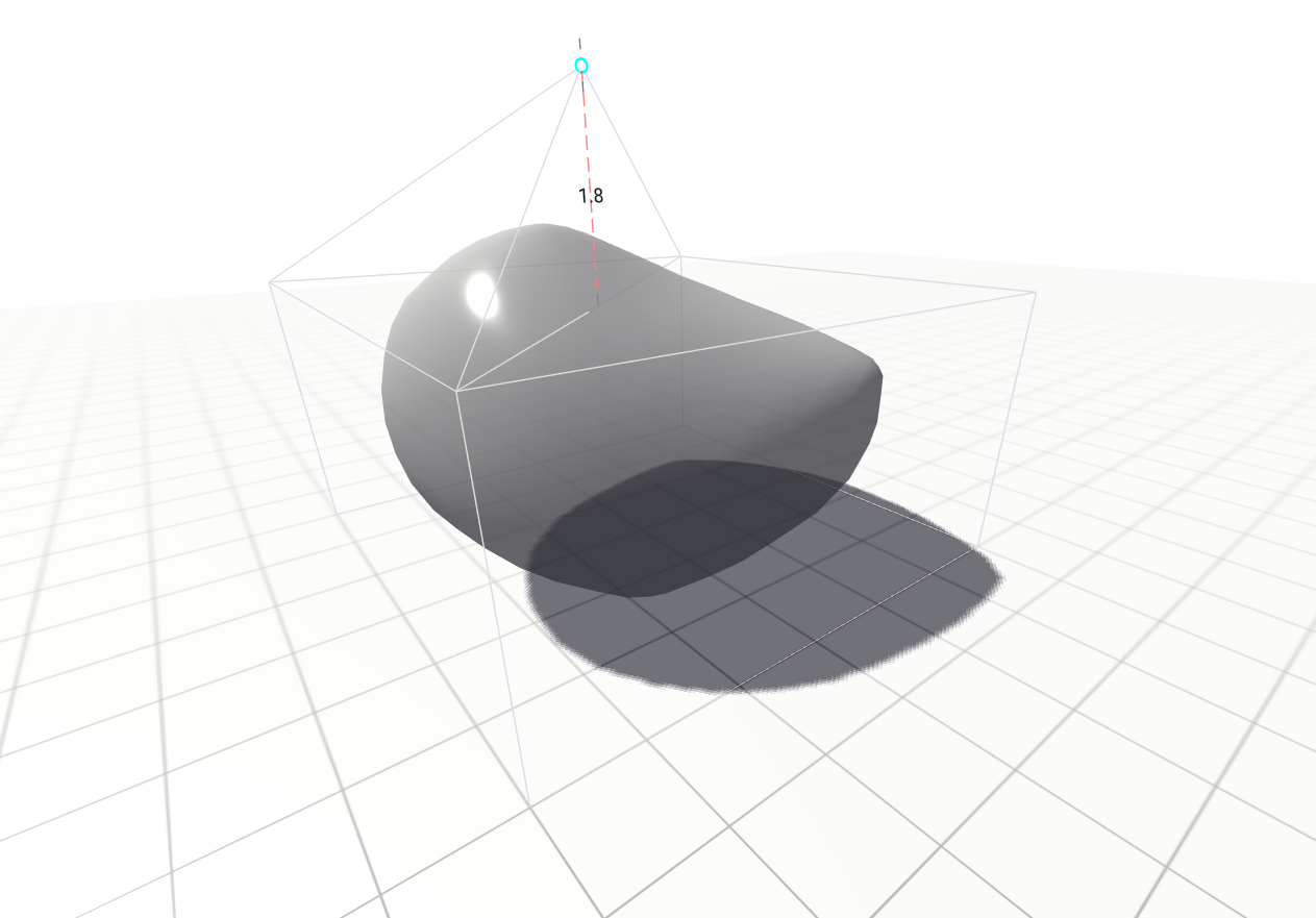 A subdivision modifier. The cursor moves a vertex on the base mesh and the subdivided surface deforms to follow.